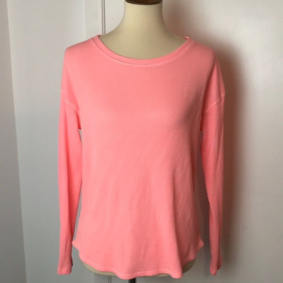 PINK Victoria's Secret Tops - VS Pink Neon Coral Pink Thermal Shirt XS